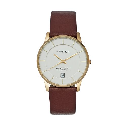 Armitron Men's Leather Watch - 20/5190SVGPBN