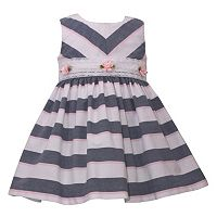 Toddler Girl Bonnie Jean Chambray Striped Lace Rosette Waist Dress