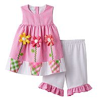 Toddler Girl Bonnie Jean Pink Gingham Plaid Ribbon Flower Dress & Bottoms Set