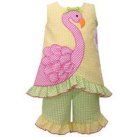 Toddler Girl Bonnie Jean Seersucker Flamingo Dress & Ruffled Capri Set