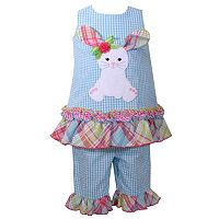 Toddler Girl Bonnie Jean Seersucker Bunny Dress & Ruffled Capri Set