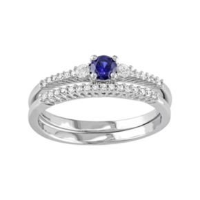 Stella Grace Sterling Silver 1/10 Carat T.W. Diamond & Lab-Created Blue & White Sapphire Engagement Ring Set