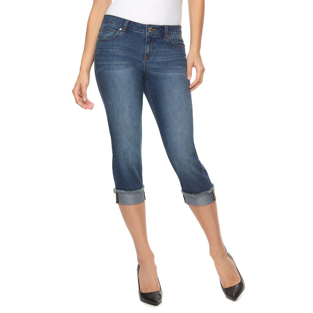Petite Jennifer Lopez Frayed Cuffed Capri Jeans