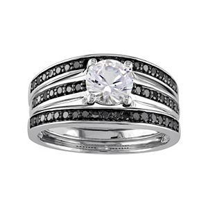 Stella Grace Sterling Silver 1/2 Carat T.W. Black Diamond & Lab-Created White Sapphire Engagement Ring Set