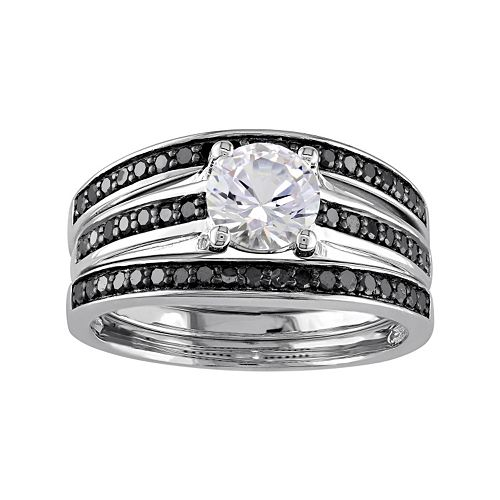 Sterling Silver 1/2 Carat T.W. Black Diamond & Lab-Created White Sapphire Engagement Ring Set
