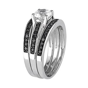 Stella Grace Sterling Silver 1/2 Carat T.W. Black Diamond & Lab-Created White Sapphire Engagement Ring Set
