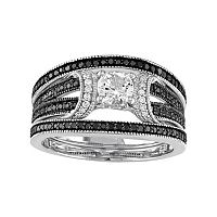 Sterling Silver 5/8 Carat T.W. Black & White Diamond & Lab-Created White Sapphire Engagement Ring Set