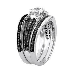 Stella Grace Sterling Silver 5/8 Carat T.W. Black & White Diamond & Lab-Created White Sapphire Engagement Ring Set