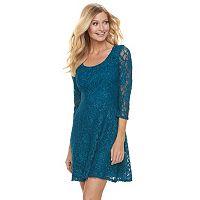 Women's 1 by 8 Glitter Lace Fit & Flare Dress