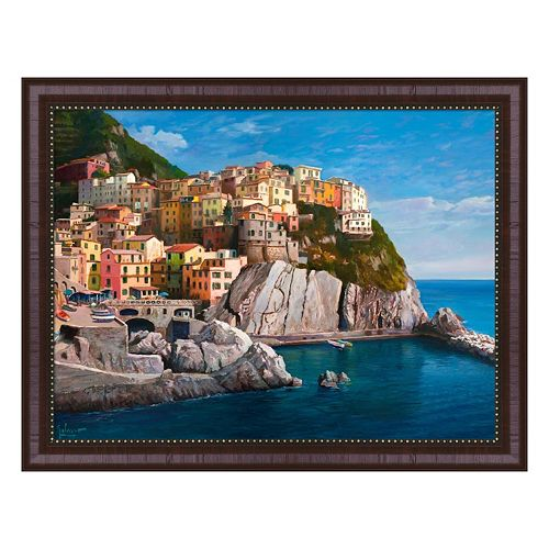 Metaverse Art Manarola Le Cinque Terre Framed Canvas Wall Art
