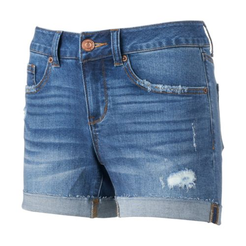 Juniors' SO® Raw-Edge Denim Midi Shorts