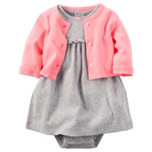Baby Girl Carter's Ruffled Mock-Layer Dress & Cardigan Set