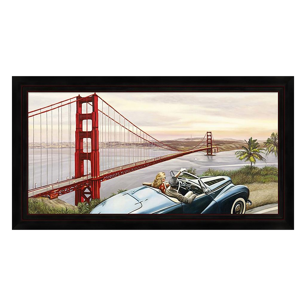 Metaverse Art Golden Gate View Framed Canvas Wall Art