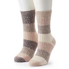 Women's Columbia 2-pk. Marled Stripe Crew Socks