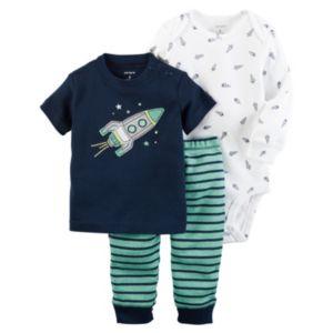 Baby Boy Carter's Print Bodysuit, Spaceship Tee & Striped Pants Set