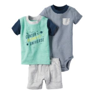Baby Boy Carter's Striped Bodysuit, Space Tee & Shorts Set
