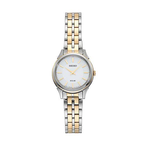 Seiko Women's Slimline Two Tone Stainless Steel Solar Watch - SUP344