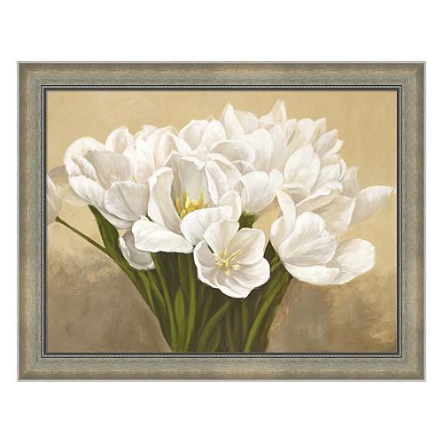 Metaverse Art Tulipes Blanches Framed Canvas Wall Art