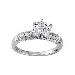10k White Gold Lab-Created White Sapphire & 1/4 Carat T.W. Diamond Engagement Ring