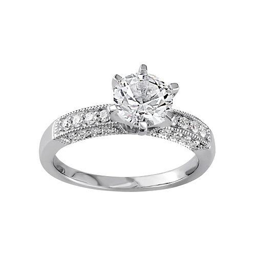 10k White Gold Lab-Created White Sapphire & 1/4 Carat T.W. Diamond Engagement Ring