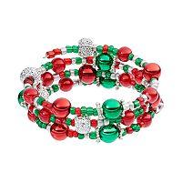 Red & Green Beaded Coil Bracelet
