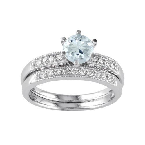 10k White Gold Aquamarine & 1/3 Carat T.W. Diamond Engagement Ring Set