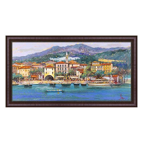 Metaverse Art Paese sul Lago I Framed Canvas Wall Art