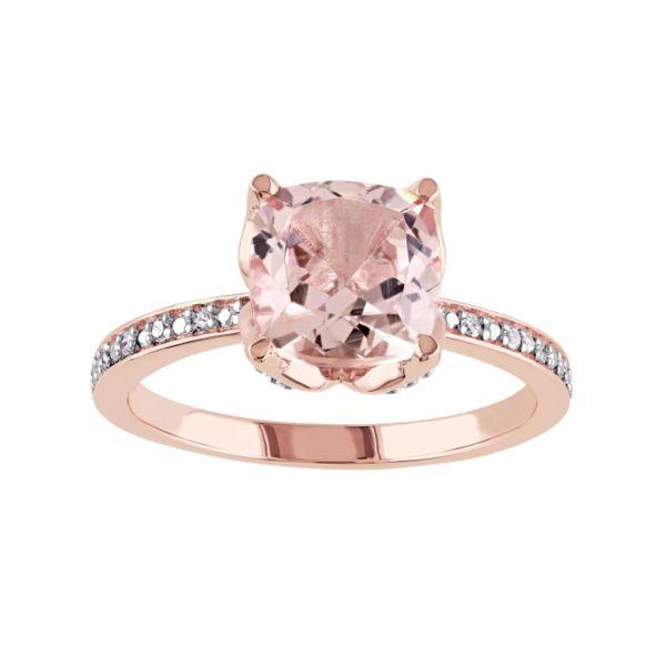 10k Rose Gold Morganite & Diamond Accent Engagement Ring