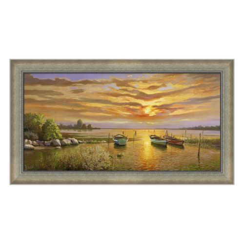 Metaverse Art Laguna al tramonto Framed Canvas Wall Art