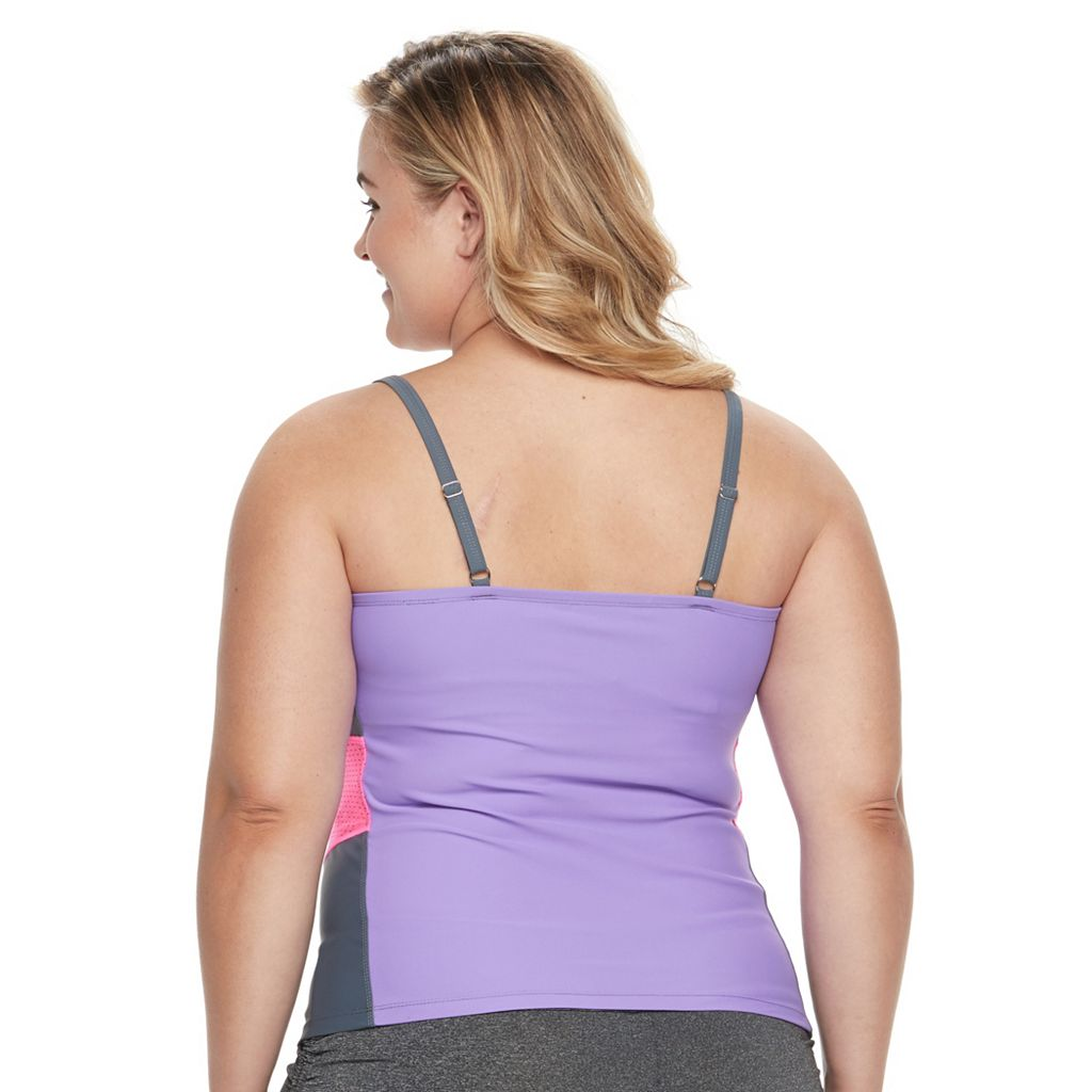 Plus Size Free Country Colorblock Mesh Tankini Top
