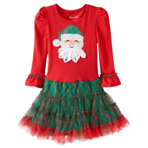 Girls 4-6x Nannette Santa Applique Mesh Skirt Dress