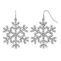 Pave Snowflake Drop Earrings