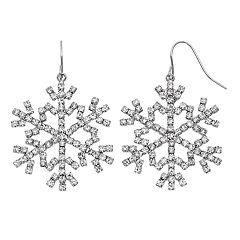 Pave Snowflake Drop Earrings