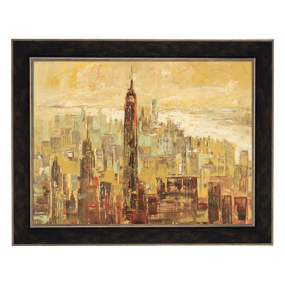 Metaverse Art Tramonto su Manhattan Framed Canvas Wall Art