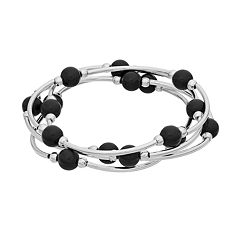 Beaded Curved Bar Stretch Bracelet Set