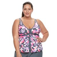 Women's Free Country Printed Flyaway Tankini Top
