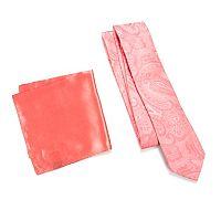 Men's Apt. 9® Patterned Skinny Tie & Solid Pocket Square Set