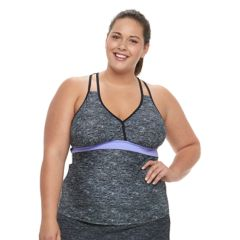 Plus Size Free Country Space-Dye Strappy-Back Tankini Top