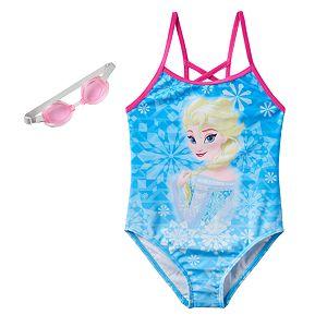 Disney's Frozen Elsa Girls 4-6x Snowflakes One-Piece Swimsuit