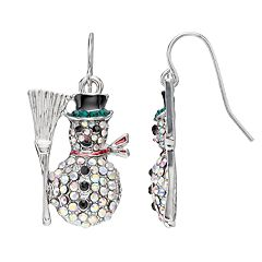 Pave Snowman Drop Earrings