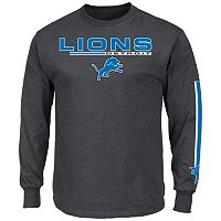 Men's Majestic Detroit Lions Primary Receiver Long-Sleeve Tee