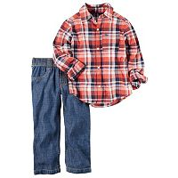 Toddler Boy Carter's Red Plaid Button-Down Shirt & Jeans Set