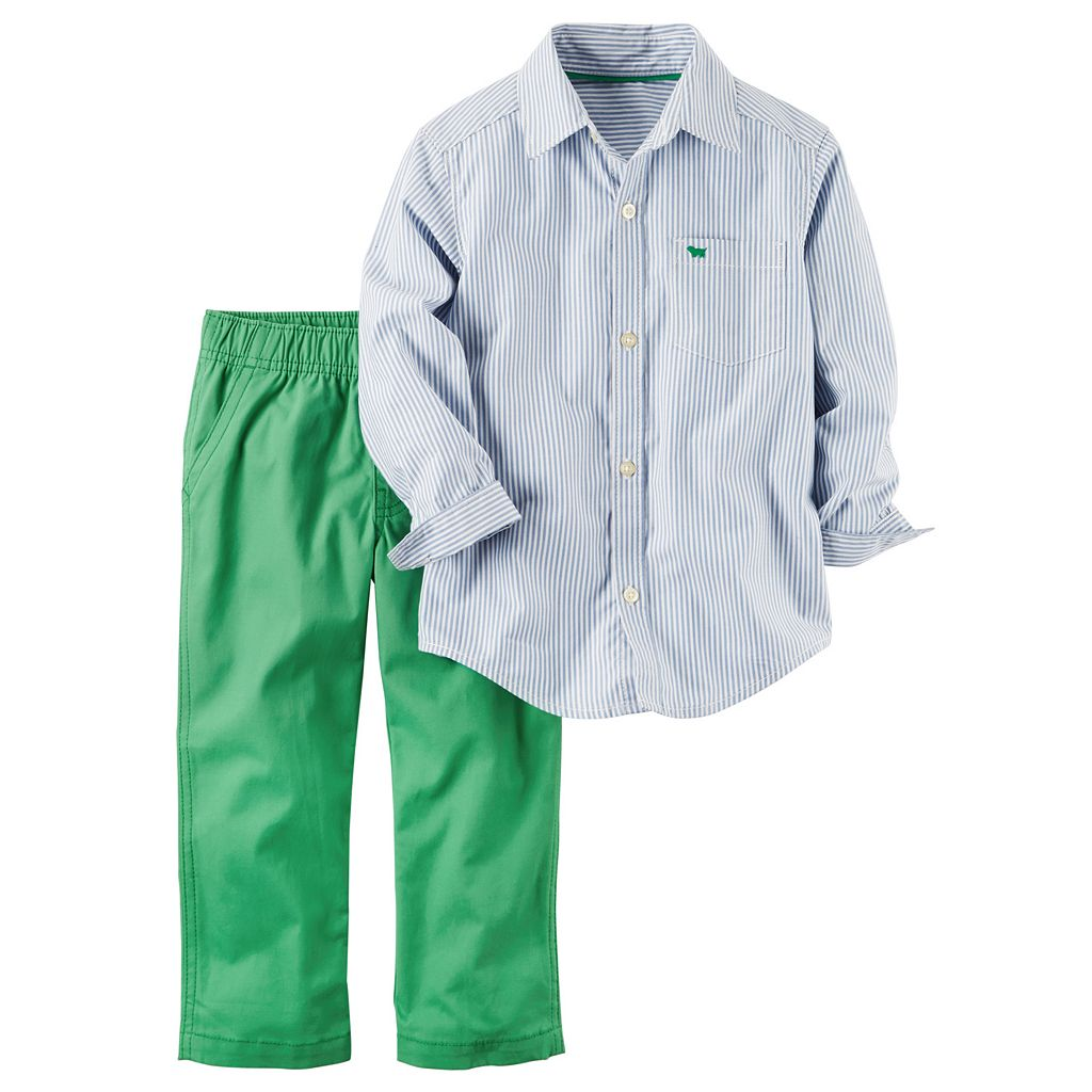 Toddler Boy Carter's Striped Button-Down Poplin Shirt & Green Canvas Pants Set