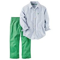 Toddler Boy Carter's Striped Button-Down Poplin Shirt & Green Canvas Pants Set