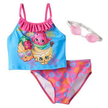 Girls 4-6x Shopkins Pineapple Crush, Melonie Pips & Buncho Bananas Ruffle 2-pc. Tankini Swimsuit Set