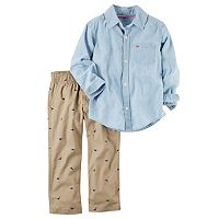 Toddler Boy Carter's Dinosaur Patterned Button-Front Shirt & Pants Set