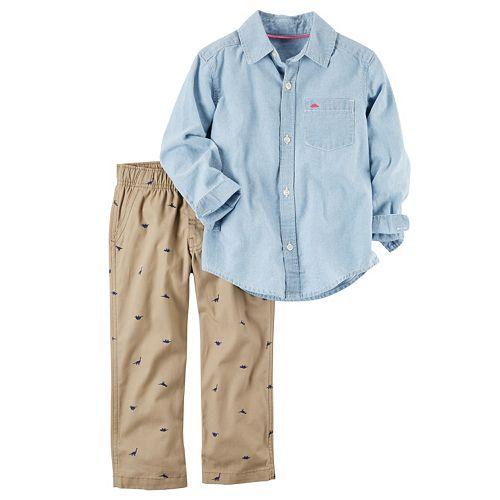 Toddler Boy Carter's Dinosaur Patterned Button-Front Shirt & Pants Set