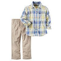 Toddler Boy Carter's Plaid Button-Down Shirt & Khaki Canvas Pants Set