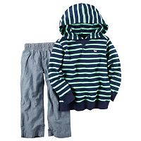 Toddler Boy Carter's Striped French Terry Hoodie & Chambray Pants Set