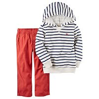 Toddler Boy Carter's Striped French Terry Hoodie & Red Pants Set